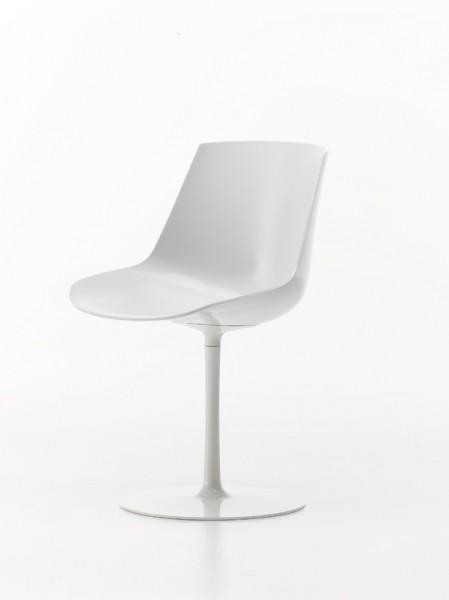 Stuhl Flow Chair von MDF Italia, Sitzschale weiß, GEstell weiß glänzend