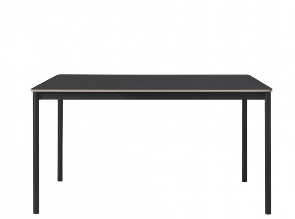 Base Table Tischplatte Linoleum schwarz mit Sperrholzkante Untergestell schwarz Muuto