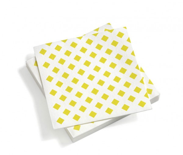 Papierserviette Paper Napkins large Motiv La Fonda Checks yellow Vitra
