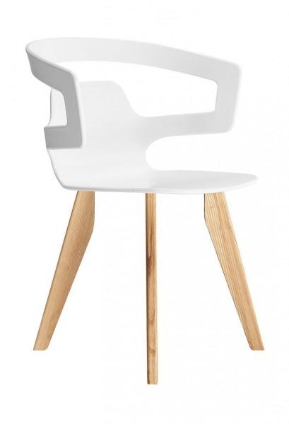 Armlehnstuhl 558 Segesta Wood von Alias, Sitzschale weiß (H112), Gestell Eiche massiv