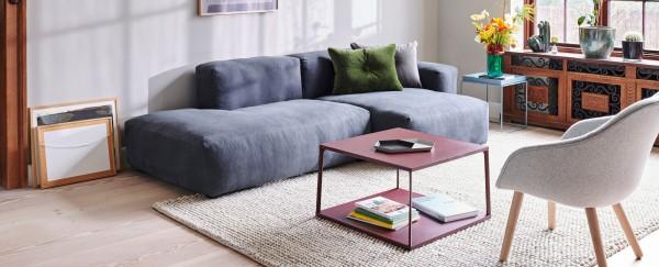 Imagebild Mags Soft, Sofa 2,5 Sitzer inkl. Chaiselongue  Kombi 3 mit Bezugsstoff Linara 198 mit Beistelltisch Hay