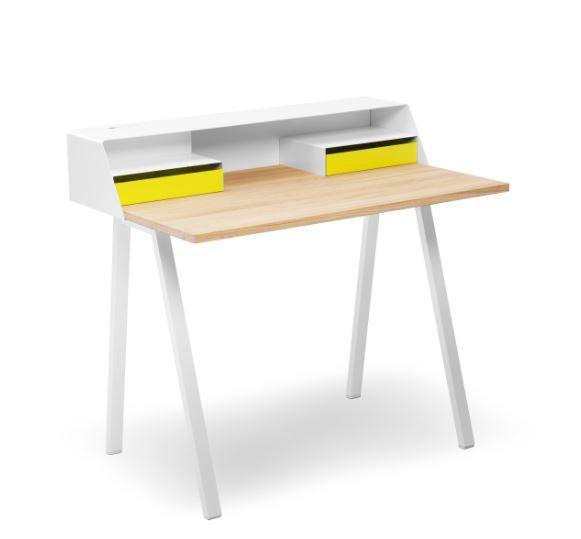 Schreibtisch PS04 Gestell und Aufsatz Stahl weiß von Müller Möbelfabrikation