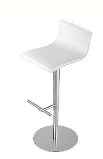 Barhocker Thin von Lapalma, Sitzfläche Leder Cuoio weiß C4, Gestell Edelstahl