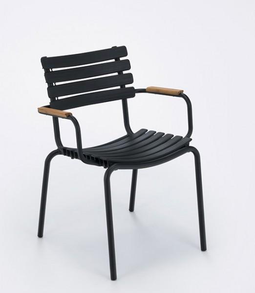 Armlehnstuhl Clips mit Holzarmlehnen Sitzschale schwarz Houe