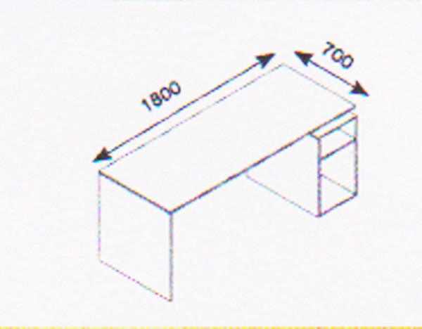 Schreibtisch Coco 180/70 mit offenem Korpus von Reinhard