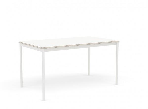 Base Table 140 cm x 80 cmTischplatte Laminat weiss mit Sperrholzkante Untergestell weiss Muuto