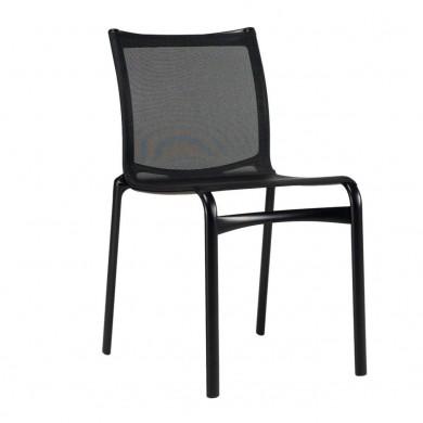 Stuhl Bigframe von Alias, Gestell Aluminium schwarz lackiert, Sitz und Rücken Netzgewebe schwarz