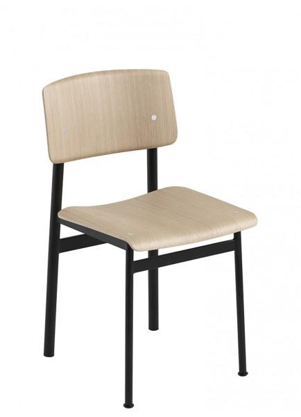 Stuhl Loft Chair Gestell schwarz Sitz und Rücken Eiche Muuto