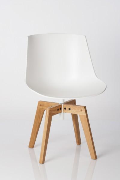 Stuhl Flow Chair von MDF Italia, Sitzschale weiß, Gestell Eichenholz
