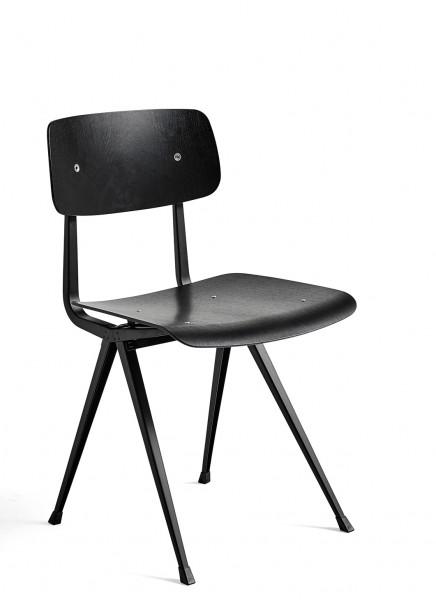 Stuhl Result Chair Sitz und Rücken Eiche schwarz gebiezt Gestell schwarz Hay