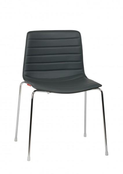 Stuhl Catifa 46 Gestell Stahl verchromt, Bezug Weichleder P00010 von Arper