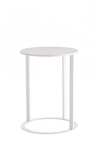 Beistelltisch Frank Tischplatte gips-weiß glänzend lackiert, Gestell gips-weiß matt lackiert von B & B Italia