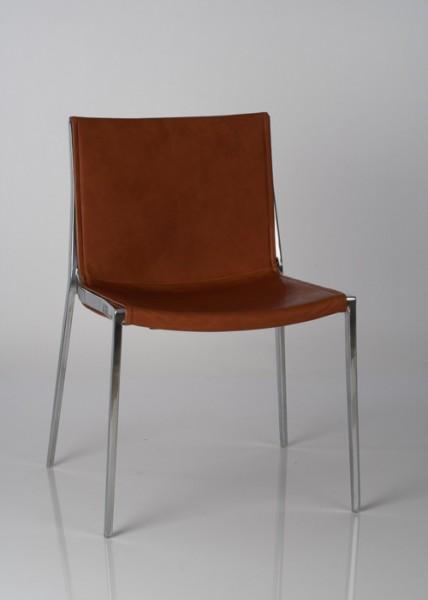 Stuhl Unique von KFF, Gestell Aluminium poliert, Bezug Leder Bonanaza Tan 6000