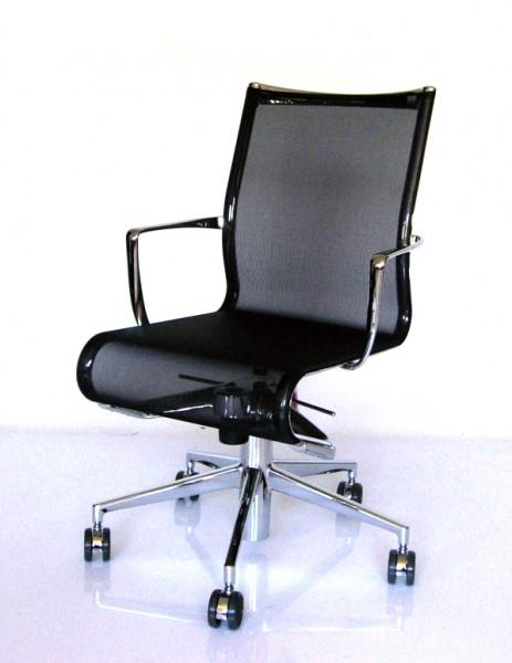 Schreibtischdrehstuhl 445 Rollingframe+ tilt, Netzgewebe schwarz, Gestell verchromt von Alias as