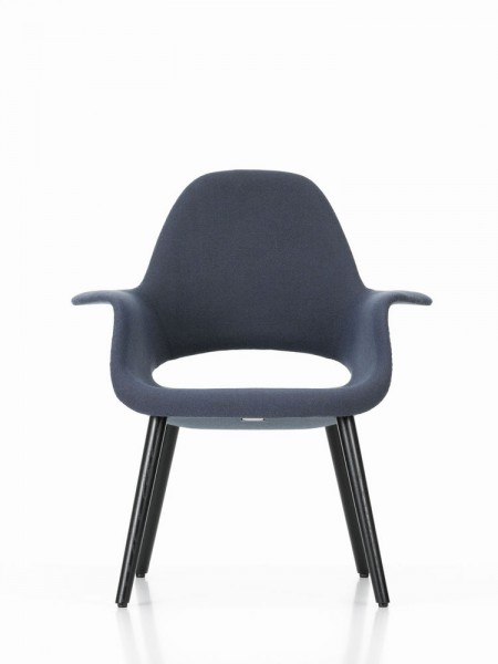 Sessel Organic Chair von Vitra, Sitzschalenbezug Hopsak blau/moorbraun (84), Untergestell Esche schwarz
