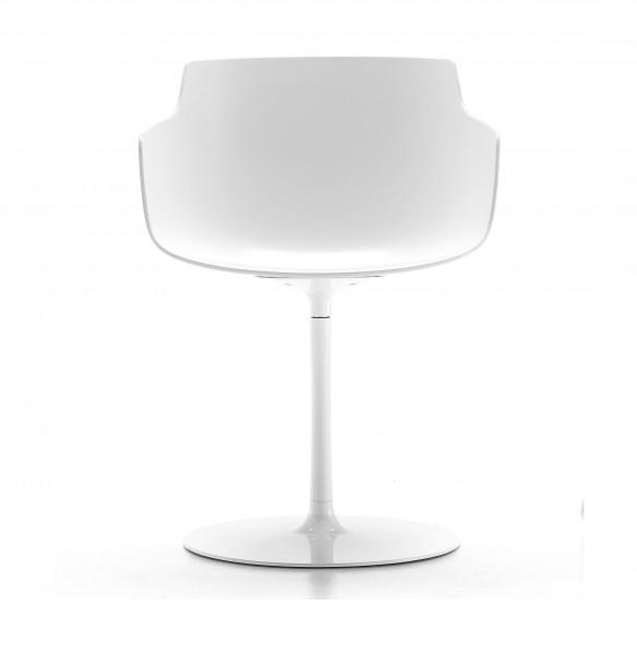 Armlehnstuhl Flow Chair Slim Color mit Tellerfuß, Sitzschale weiß glänzend MDF Italia