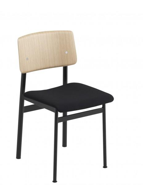 Stuhl Loft Chair with upholstered seat Muuto Sitzbezug Steelcut schwarz (190) Gestell schwarz, Rückenlehne Esche furniert
