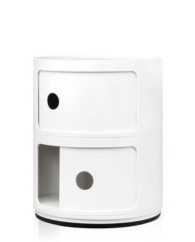 Container Componibili 2-stöckig in der Farbe weiß, eine Schiebetür geöffnet