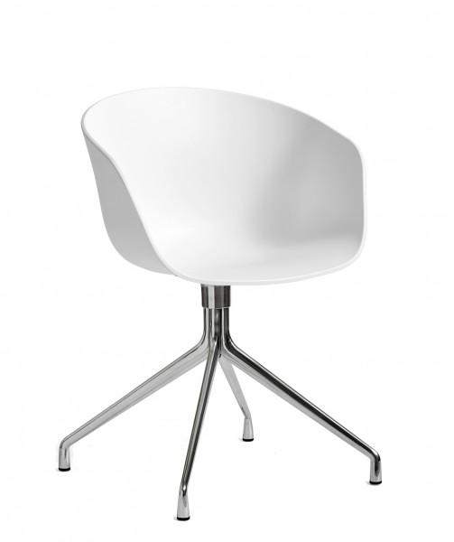AAC 20 Armlehnstuhl Gestell Aluminium poliert Sitzschale weiß Hay