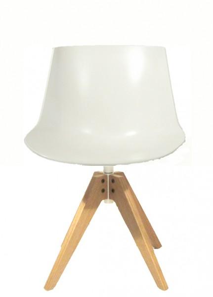 Stuhl Flow Chair 4 Füße VN aus Eiche von MDF Italia, Schale weiß