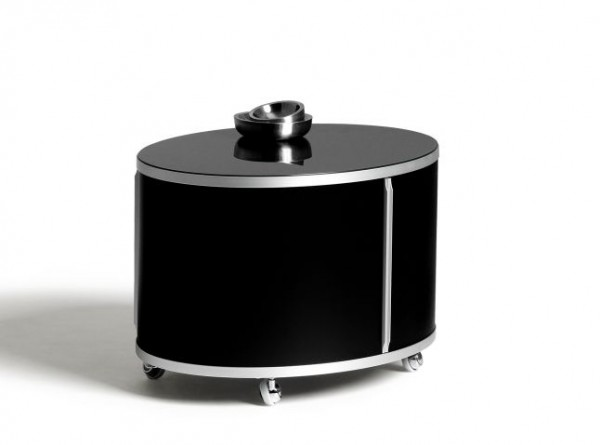 Beistelltisch Wogg 17 von Wogg, einstöckig in schwarz, Griffleistungen und Gurt Aluminium natur eloxiert
