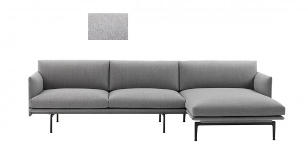 Sofa Outline mit Chaise Longue rechts Stoffmuster Vancouver hellgrau 14 Muuto